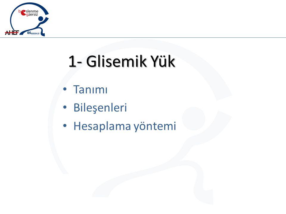 1- Glisemik Yük Tanımı Bileşenleri Hesaplama yöntemi