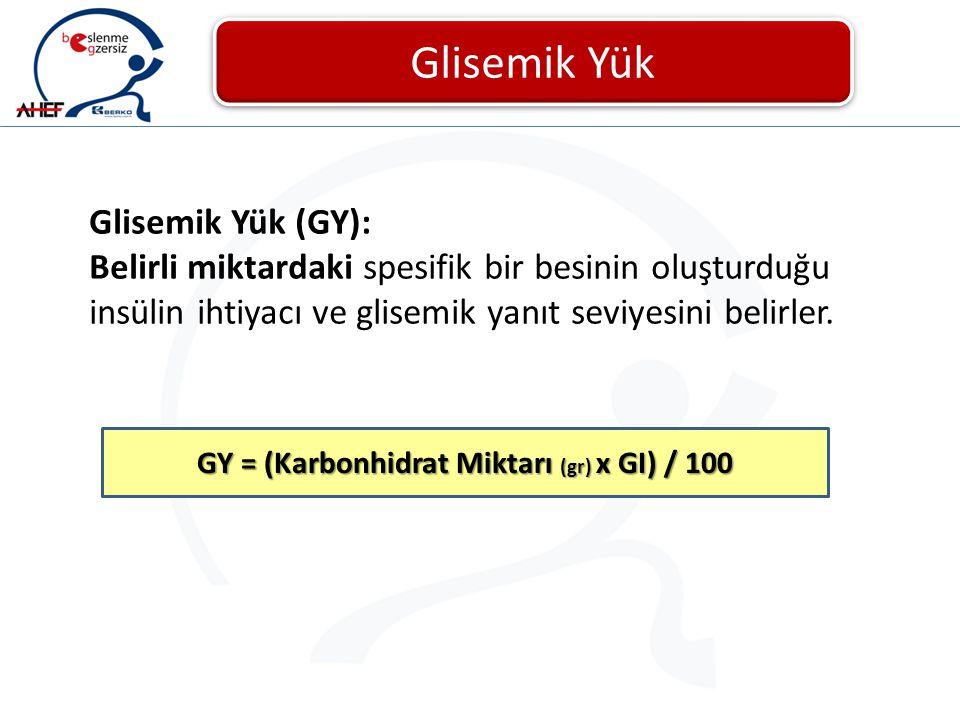 Glisemik Yük Glisemik Yük (GY): Belirli miktardaki spesifik bir besinin oluşturduğu insülin ihtiyacı ve glisemik yanıt seviyesini belirler. GY = (Karb