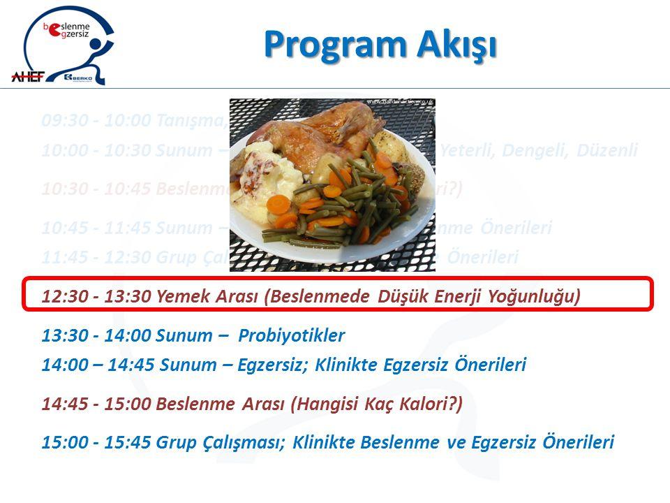 Program Akışı 09:30 - 10:00 Tanışma, Beklentiler ve Program 10:00 - 10:30 Sunum – Beslenmenin Temelleri ; Yeterli, Dengeli, Düzenli 10:30 - 10:45 Besl