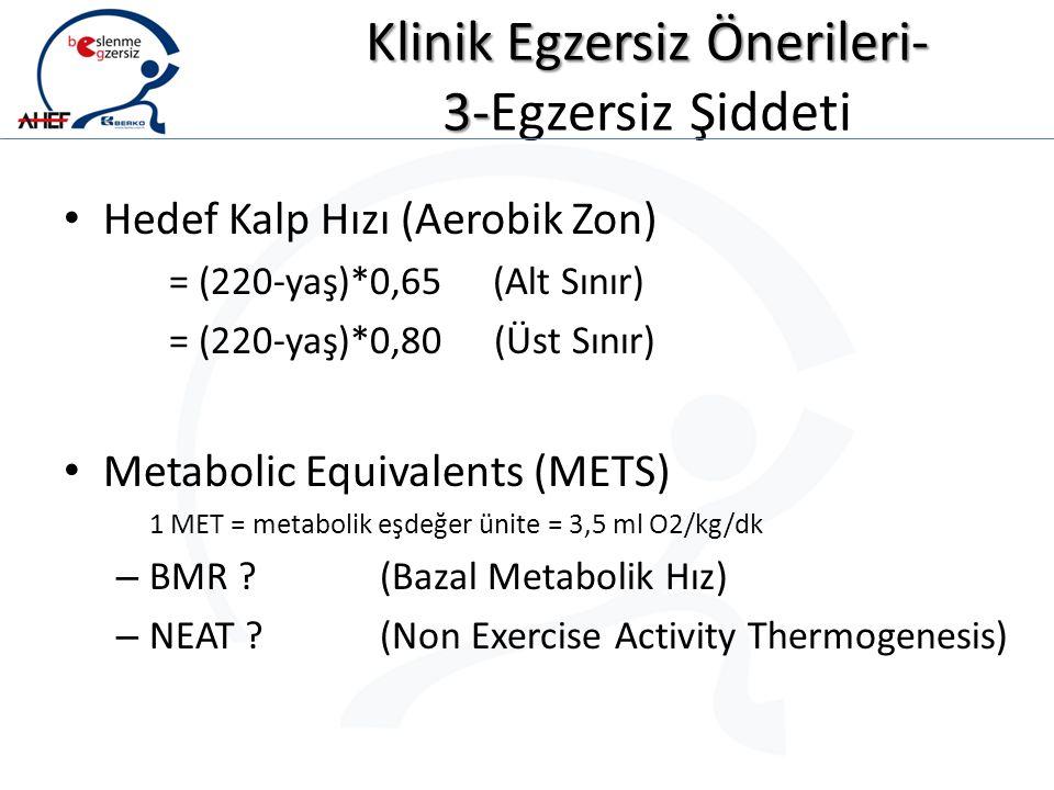 Klinik Egzersiz Önerileri- 3- Klinik Egzersiz Önerileri- 3-Egzersiz Şiddeti Hedef Kalp Hızı (Aerobik Zon) = (220-yaş)*0,65 (Alt Sınır) = (220-yaş)*0,8