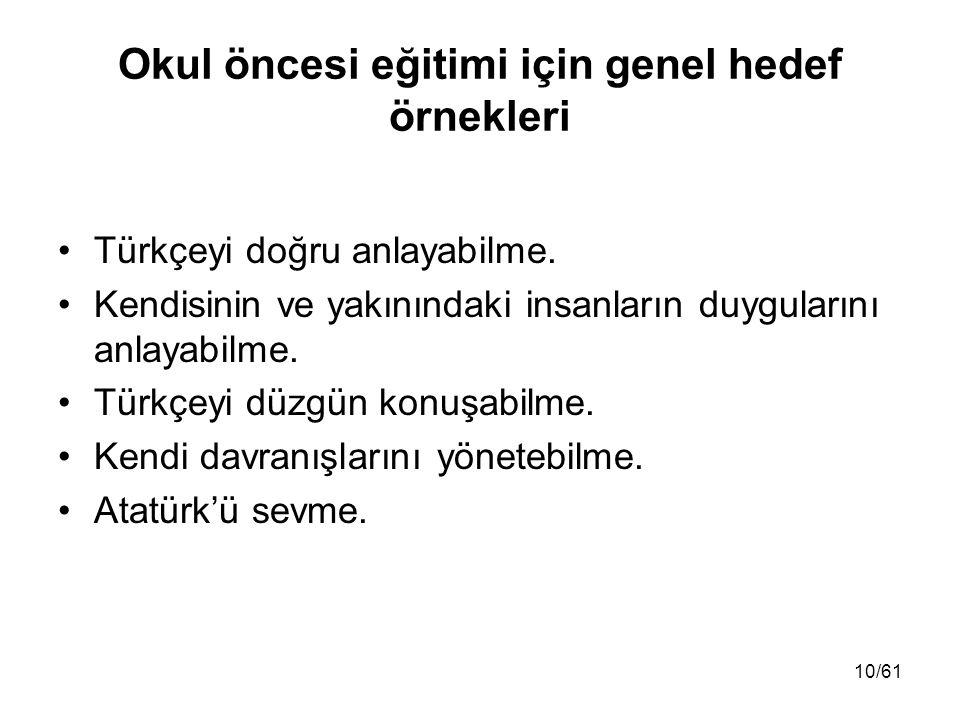 Okul öncesi eğitimi için genel hedef örnekleri Türkçeyi doğru anlayabilme. Kendisinin ve yakınındaki insanların duygularını anlayabilme. Türkçeyi düzg