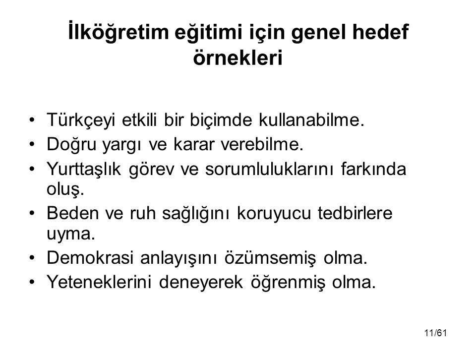 İlköğretim eğitimi için genel hedef örnekleri Türkçeyi etkili bir biçimde kullanabilme. Doğru yargı ve karar verebilme. Yurttaşlık görev ve sorumluluk