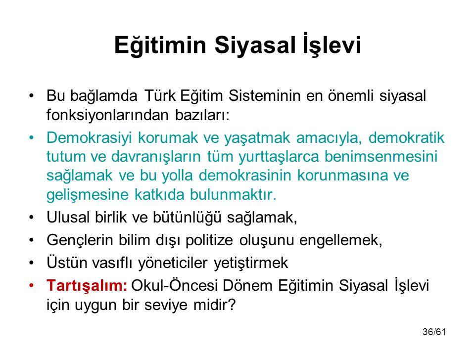 Eğitimin Siyasal İşlevi Bu bağlamda Türk Eğitim Sisteminin en önemli siyasal fonksiyonlarından bazıları: Demokrasiyi korumak ve yaşatmak amacıyla, dem