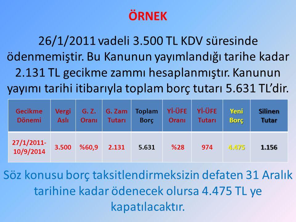ÖRNEK 26/1/2011 vadeli 3.500 TL KDV süresinde ödenmemiştir. Bu Kanunun yayımlandığı tarihe kadar 2.131 TL gecikme zammı hesaplanmıştır. Kanunun yayımı