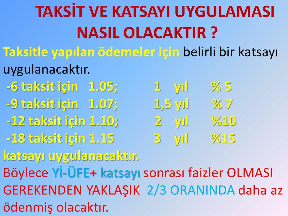 -6 taksit için 1.05; 1 yıl % 5 -9 taksit için 1.07; 1,5 yıl % 7 -12 taksit için 1.10; 2 yıl %10 -18 taksit için 1.15 3 yıl %15 katsayı uygulanacaktır.