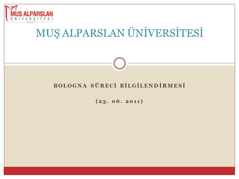 MŞÜ'deki Bologna Süreci Çalışmaları İçin Takip Edilecek Adımlar 3.