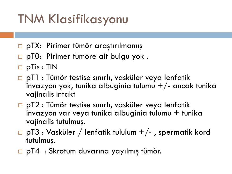 TNM Klasifikasyonu  pTX: Pirimer tümör araştırılmamış  pT0: Pirimer tümöre ait bulgu yok.  pTis : TIN  pT1 : Tümör testise sınırlı, vasküler veya