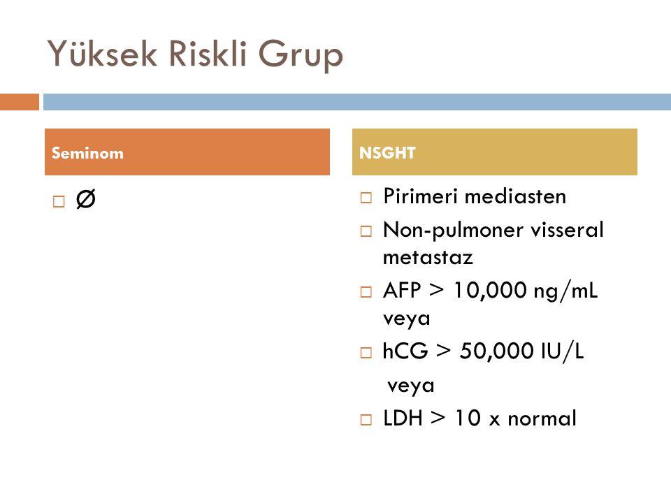 Yüksek Riskli Grup ØØ  Pirimeri mediasten  Non-pulmoner visseral metastaz  AFP > 10,000 ng/mL veya  hCG > 50,000 IU/L veya  LDH > 10 x normal S