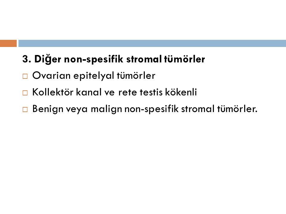 3. Di ğ er non-spesifik stromal tümörler  Ovarian epitelyal tümörler  Kollektör kanal ve rete testis kökenli  Benign veya malign non-spesifik strom