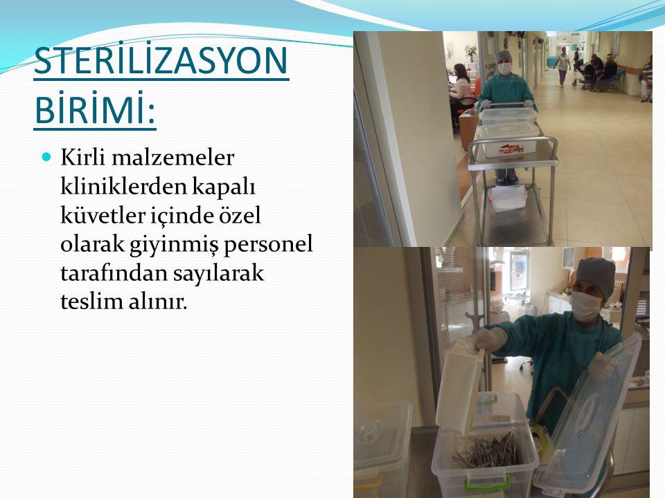 STERİLİZASYON BİRİMİ: Merkezimiz bodrum katında bulunan sterilizasyon ünitesinde 1 hemşire 2 personel görev yapmaktadır. Günlük yaklaşık 3000 adet mal