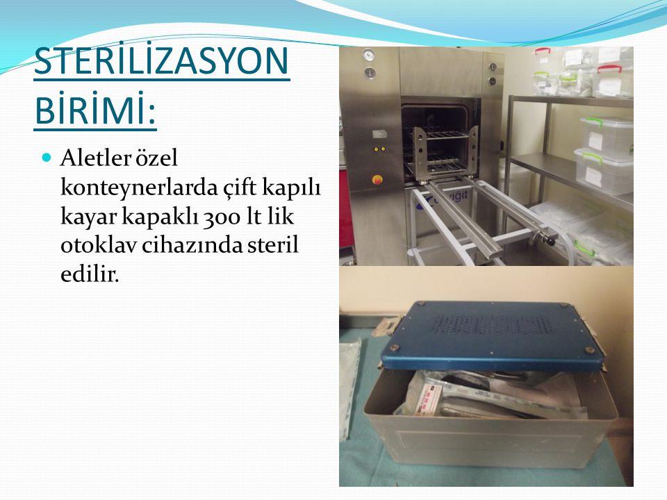 STERİLİZASYON BİRİMİ: Teslim alınan malzemeler; kirli alanda :ön yıkama- dekontaminasyon işleminden sonra enzimatik solüsyonda bekletilerek, ultrasoni
