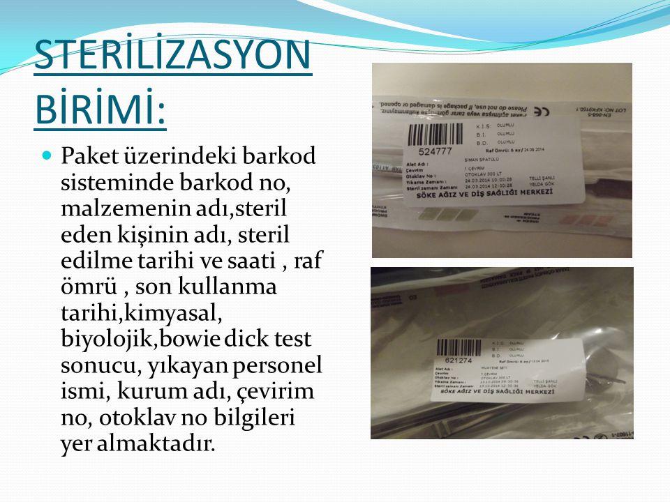 STERİLİZASYON BİRİMİ: Malzemeler Steril alandan klinik adına çıkış yapılarak temiz asansörü aracılığıyla ilgili kliniğe teslim edilmektedir