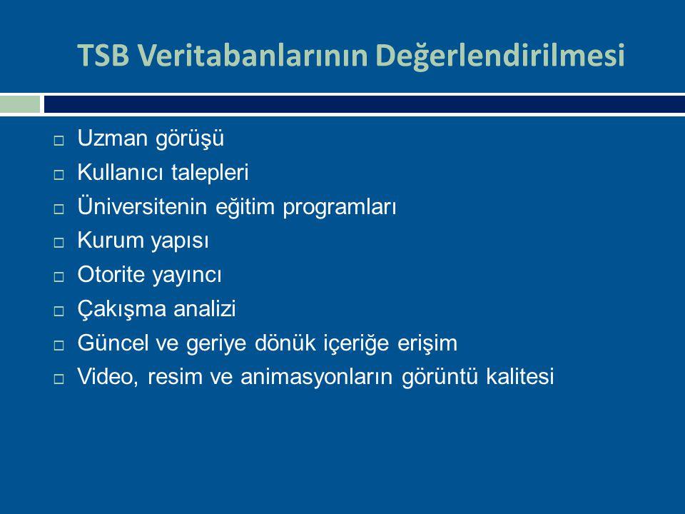 TSB Veritabanlarının Değerlendirilmesi  Uzman görüşü  Kullanıcı talepleri  Üniversitenin eğitim programları  Kurum yapısı  Otorite yayıncı  Çakı