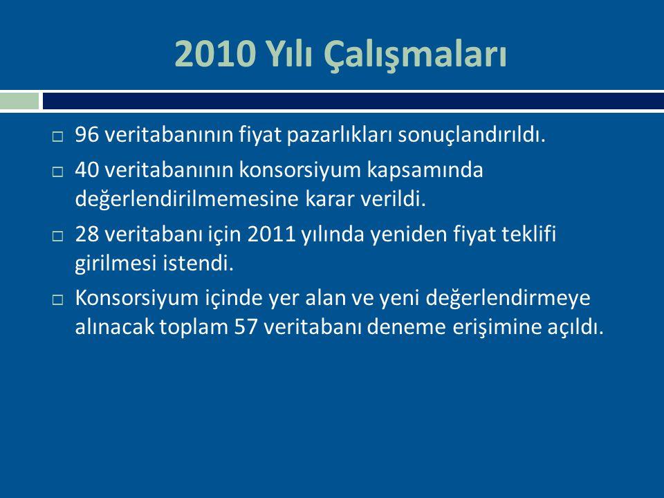 2010 Yılı Çalışmaları  96 veritabanının fiyat pazarlıkları sonuçlandırıldı.  40 veritabanının konsorsiyum kapsamında değerlendirilmemesine karar ver