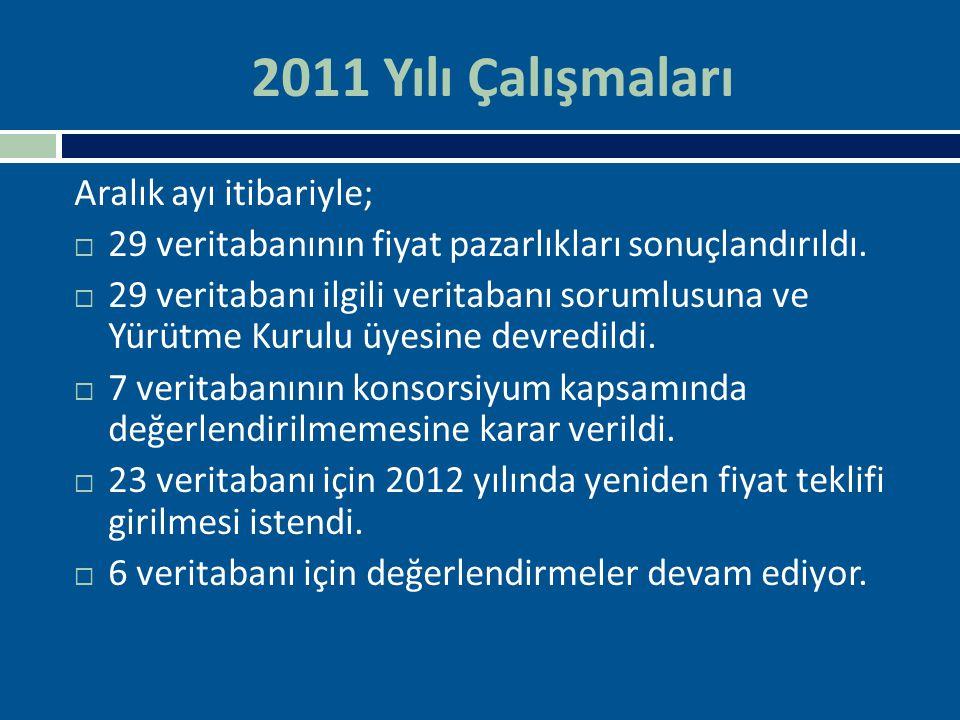 2011 Yılı Çalışmaları Aralık ayı itibariyle;  29 veritabanının fiyat pazarlıkları sonuçlandırıldı.  29 veritabanı ilgili veritabanı sorumlusuna ve Y