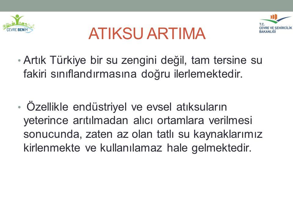 ATIKSU ARTIMA Artık Türkiye bir su zengini değil, tam tersine su fakiri sınıflandırmasına doğru ilerlemektedir. Özellikle endüstriyel ve evsel atıksul