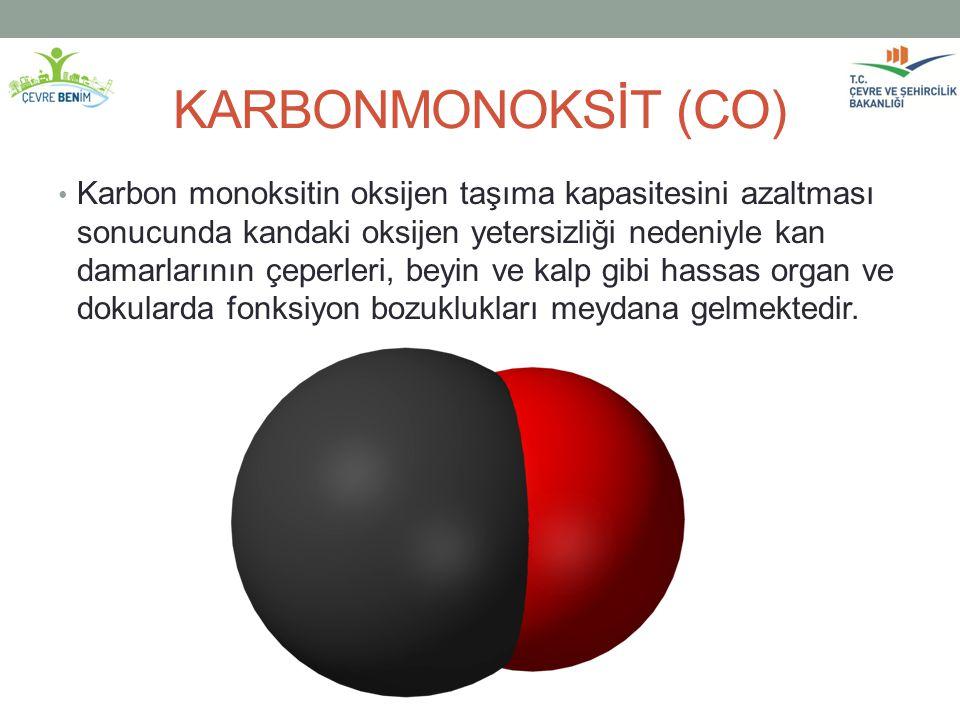 KARBONMONOKSİT (CO) Karbon monoksitin oksijen taşıma kapasitesini azaltması sonucunda kandaki oksijen yetersizliği nedeniyle kan damarlarının çeperler