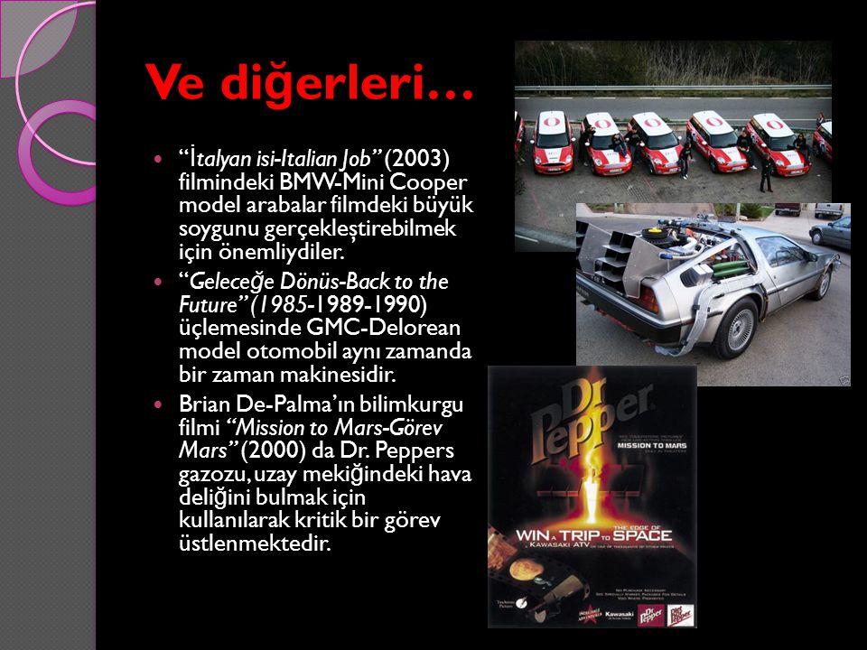 """Ve di ğ erleri… """" İ talyan isi-Italian Job"""" (2003) filmindeki BMW-Mini Cooper model arabalar filmdeki büyük soygunu gerçekleştirebilmek için önemliydi"""