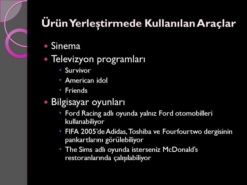 Ürün Yerleştirmede Kullanılan Araçlar Sinema Televizyon programları  Survivor  American idol  Friends Bilgisayar oyunları  Ford Racing adlı oyunda