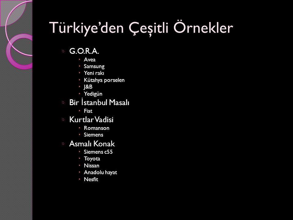 Türkiye'den Çeşitli Örnekler ◦ G.O.R.A.  Avea  Samsung  Yeni rakı  Kütahya porselen  J&B  Yedigün ◦ Bir İ stanbul Masalı  Fiat ◦ Kurtlar Vadisi