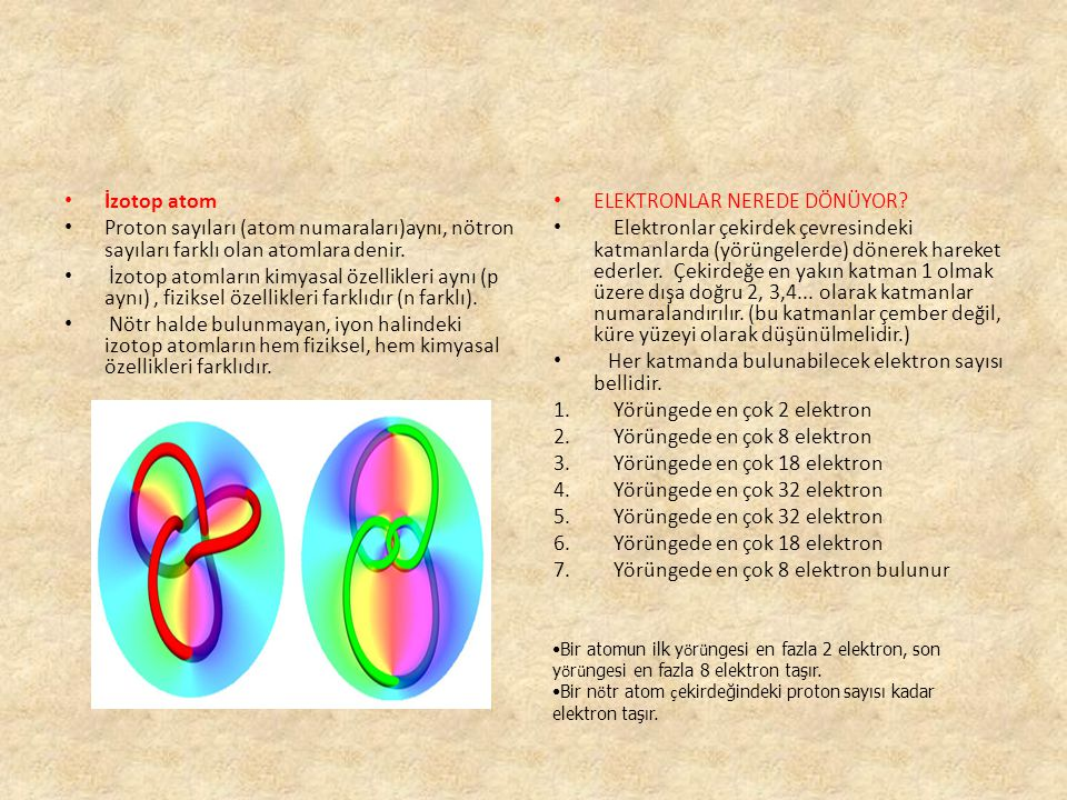 İzotop atom Proton sayıları (atom numaraları)aynı, nötron sayıları farklı olan atomlara denir. İzotop atomların kimyasal özellikleri aynı (p aynı), fi