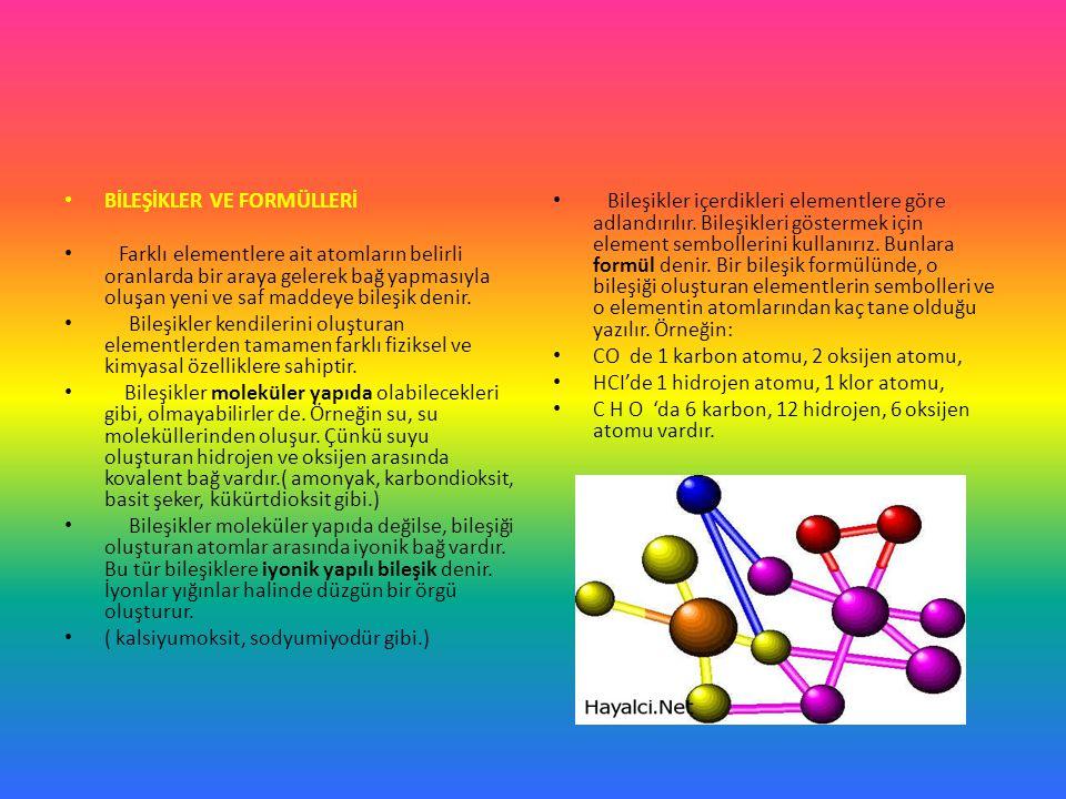 BİLEŞİKLER VE FORMÜLLERİ Farklı elementlere ait atomların belirli oranlarda bir araya gelerek bağ yapmasıyla oluşan yeni ve saf maddeye bileşik denir.