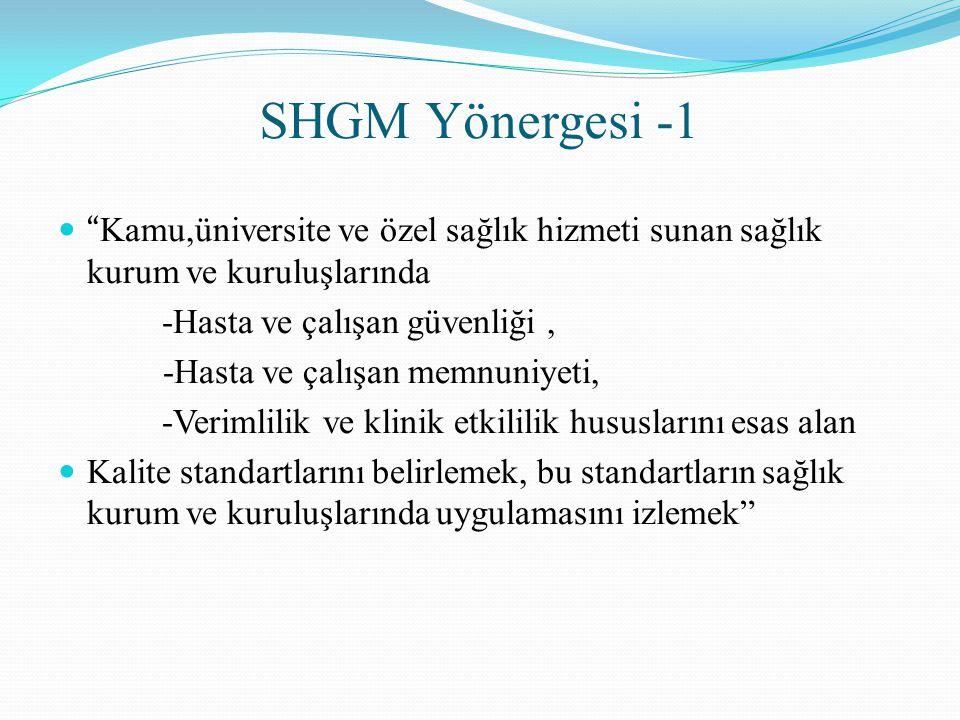 SHGM Yönergesi -1 Kamu,üniversite ve özel sağlık hizmeti sunan sağlık kurum ve kuruluşlarında -Hasta ve çalışan güvenliği, -Hasta ve çalışan memnuniyeti, -Verimlilik ve klinik etkililik hususlarını esas alan Kalite standartlarını belirlemek, bu standartların sağlık kurum ve kuruluşlarında uygulamasını izlemek