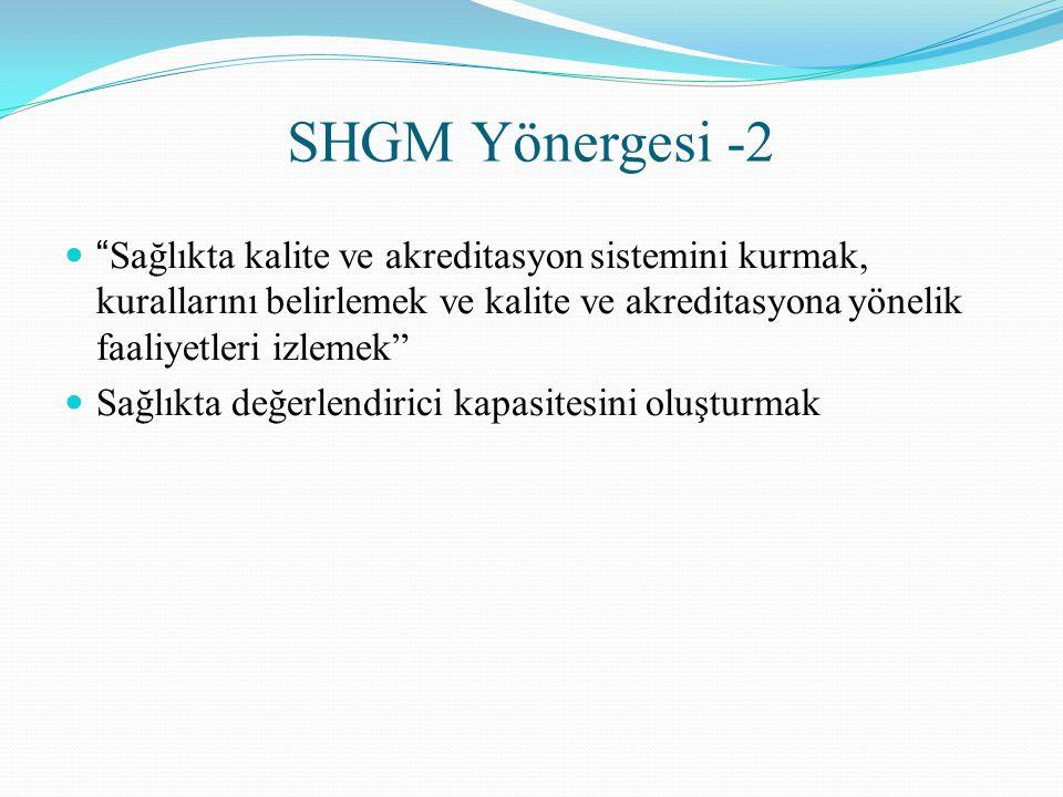 """SHGM Yönergesi -2 """" Sağlıkta kalite ve akreditasyon sistemini kurmak, kurallarını belirlemek ve kalite ve akreditasyona yönelik faaliyetleri izlemek"""""""