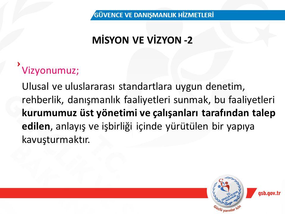 MİSYON VE VİZYON -2 GÜVENCE VE DANIŞMANLIK HİZMETLERİ Vizyonumuz; Ulusal ve uluslararası standartlara uygun denetim, rehberlik, danışmanlık faaliyetle