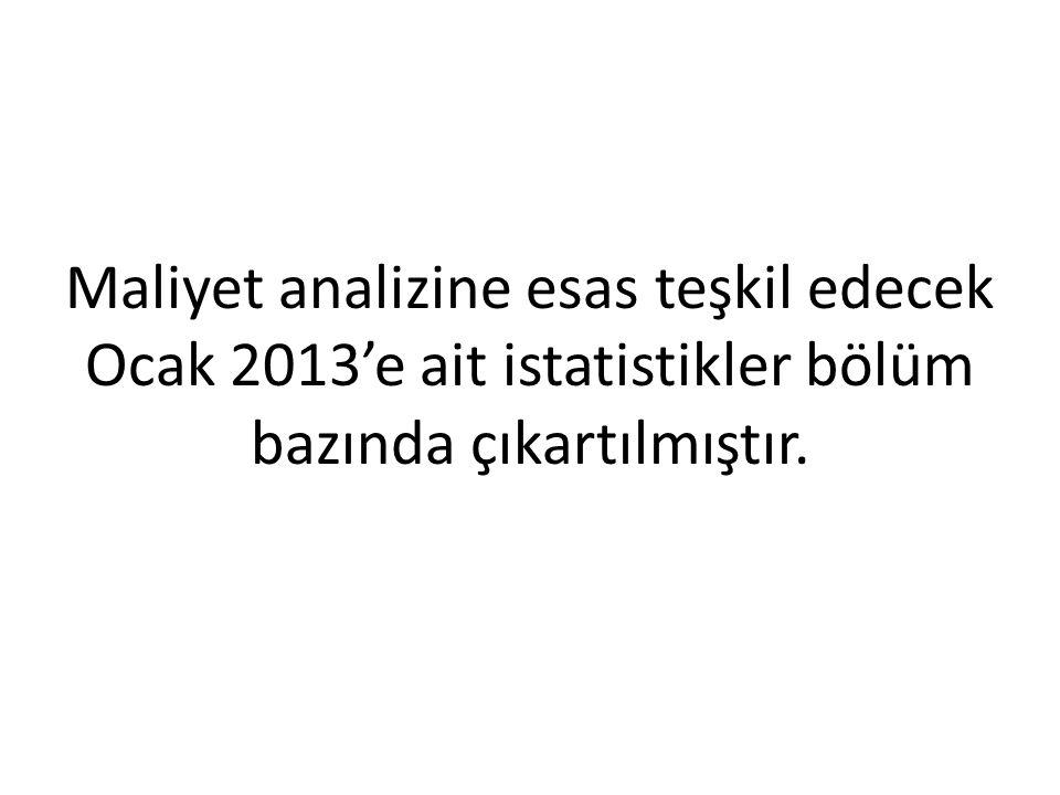 Maliyet analizine esas teşkil edecek Ocak 2013'e ait istatistikler bölüm bazında çıkartılmıştır.