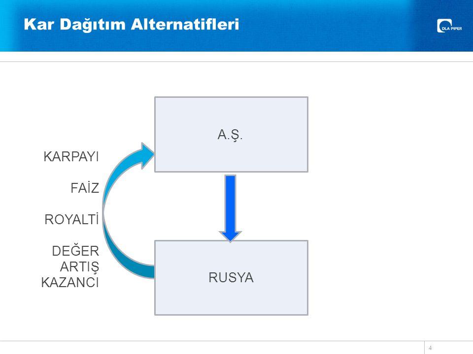 Kar Dağıtım Alternatifleri 4 A.Ş. RUSYA KARPAYI FAİZ ROYALTİ DEĞER ARTIŞ KAZANCI