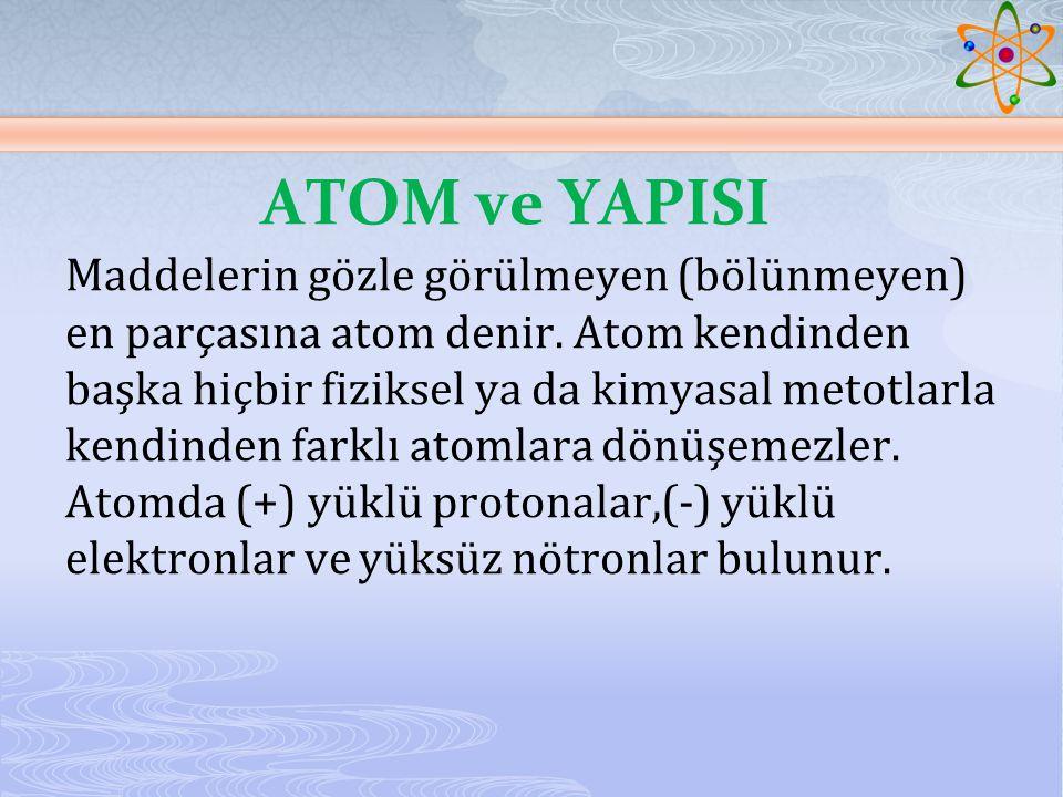 ATOM ve YAPISI Maddelerin gözle görülmeyen (bölünmeyen) en parçasına atom denir.