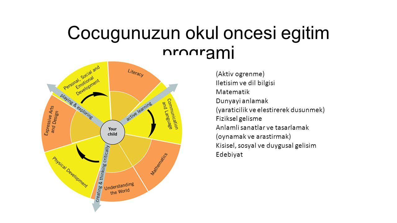 Cocugunuzun okul oncesi egitim programi (Aktiv ogrenme) Iletisim ve dil bilgisi Matematik Dunyayi anlamak (yaraticilik ve elestirerek dusunmek) Fiziks