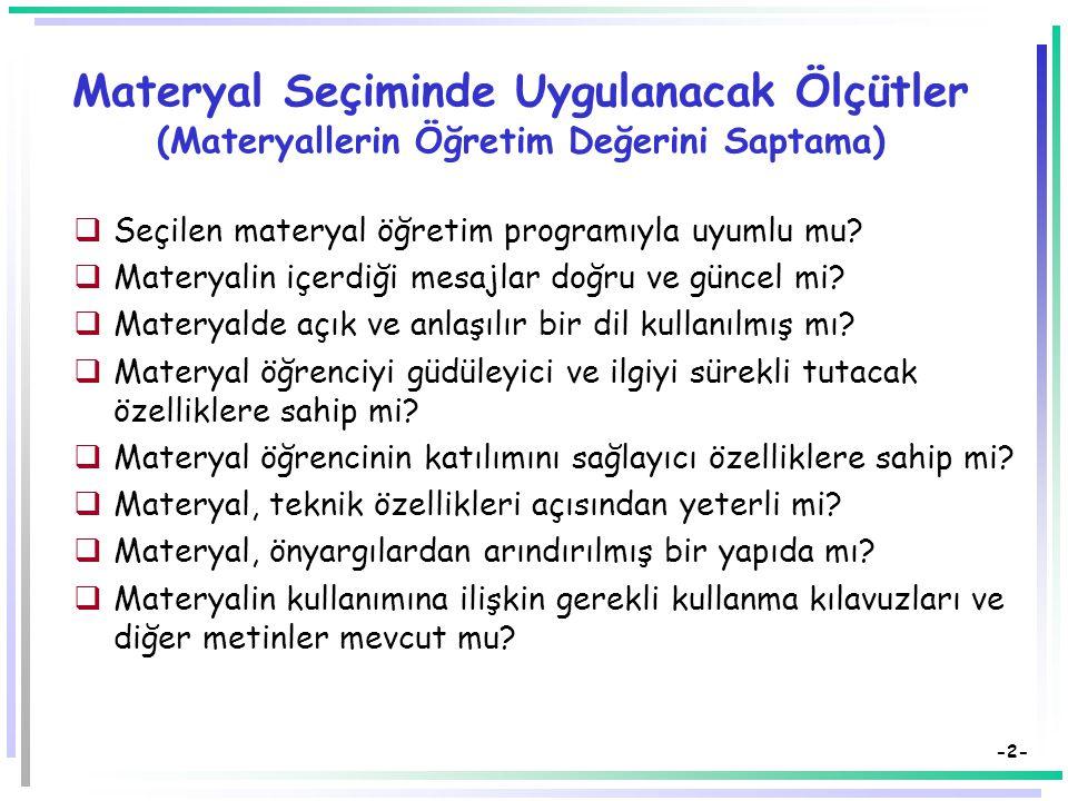 Öğretim Teknolojileri ve Materyal Tasarımı Öğretim Materyallerinin Tasarlanması, Hazırlanması ve Seçimi Dr. Süleyman Sadi SEFEROĞLU Hacettepe Üniversi