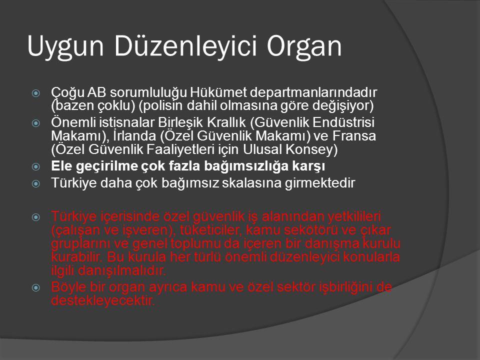 Uygun Düzenleyici Organ  Çoğu AB sorumluluğu Hükümet departmanlarındadır (bazen çoklu) (polisin dahil olmasına göre değişiyor)  Önemli istisnalar Bi