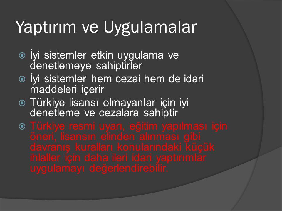Yaptırım ve Uygulamalar  İyi sistemler etkin uygulama ve denetlemeye sahiptirler  İyi sistemler hem cezai hem de idari maddeleri içerir  Türkiye li