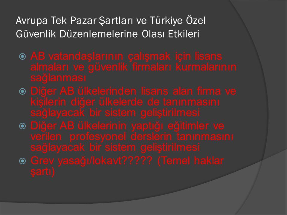 Avrupa Tek Pazar Şartları ve Türkiye Özel Güvenlik Düzenlemelerine Olası Etkileri  AB vatandaşlarının çalışmak için lisans almaları ve güvenlik firma