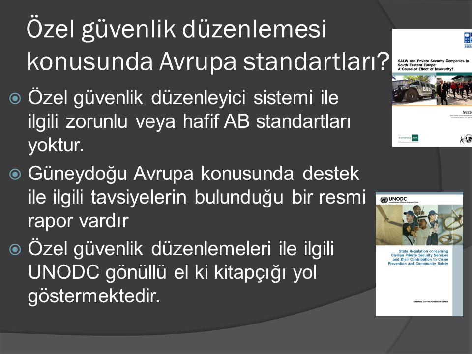 Özel güvenlik düzenlemesi konusunda Avrupa standartları?  Özel güvenlik düzenleyici sistemi ile ilgili zorunlu veya hafif AB standartları yoktur.  G