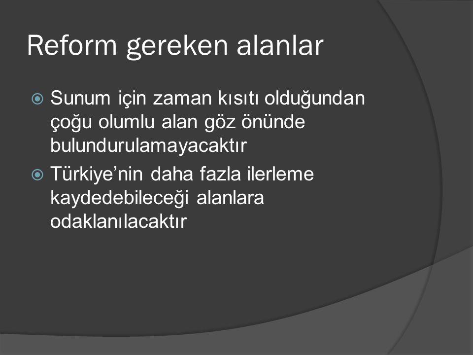 Reform gereken alanlar  Sunum için zaman kısıtı olduğundan çoğu olumlu alan göz önünde bulundurulamayacaktır  Türkiye'nin daha fazla ilerleme kayded