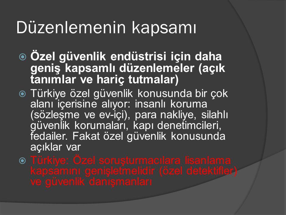 Düzenlemenin kapsamı  Özel güvenlik endüstrisi için daha geniş kapsamlı düzenlemeler (açık tanımlar ve hariç tutmalar)  Türkiye özel güvenlik konusu