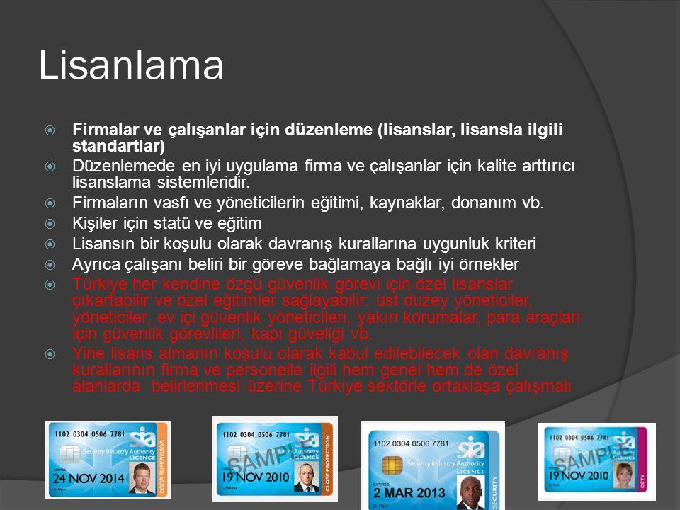 Uygun Düzenleyici Organ  Çoğu AB sorumluluğu Hükümet departmanlarındadır (bazen çoklu) (polisin dahil olmasına göre değişiyor)  Önemli istisnalar Birleşik Krallık (Güvenlik Endüstrisi Makamı), İrlanda (Özel Güvenlik Makamı) ve Fransa (Özel Güvenlik Faaliyetleri için Ulusal Konsey)  Ele geçirilme çok fazla bağımsızlığa karşı  Türkiye daha çok bağımsız skalasına girmektedir  Türkiye içerisinde özel güvenlik iş alanından yetkilileri (çalışan ve işveren), tüketiciler, kamu sekötörü ve çıkar gruplarını ve genel toplumu da içeren bir danışma kurulu kurabilir.