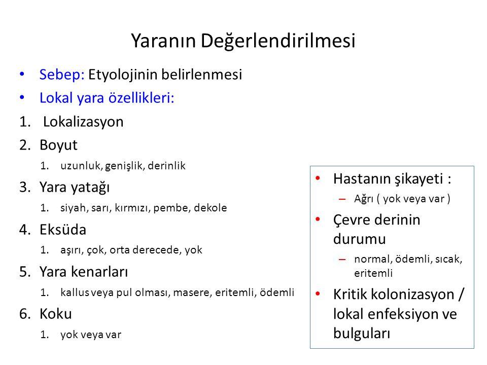Yaranın Değerlendirilmesi Sebep: Etyolojinin belirlenmesi Lokal yara özellikleri: 1. Lokalizasyon 2.Boyut 1.uzunluk, genişlik, derinlik 3.Yara yatağı