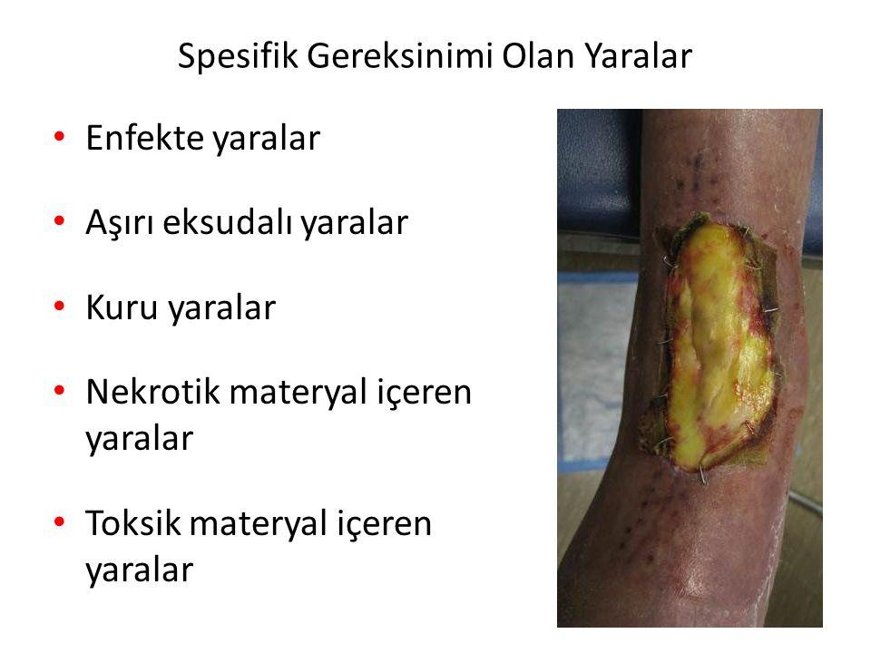 Spesifik Gereksinimi Olan Yaralar Enfekte yaralar Aşırı eksudalı yaralar Kuru yaralar Nekrotik materyal içeren yaralar Toksik materyal içeren yaralar