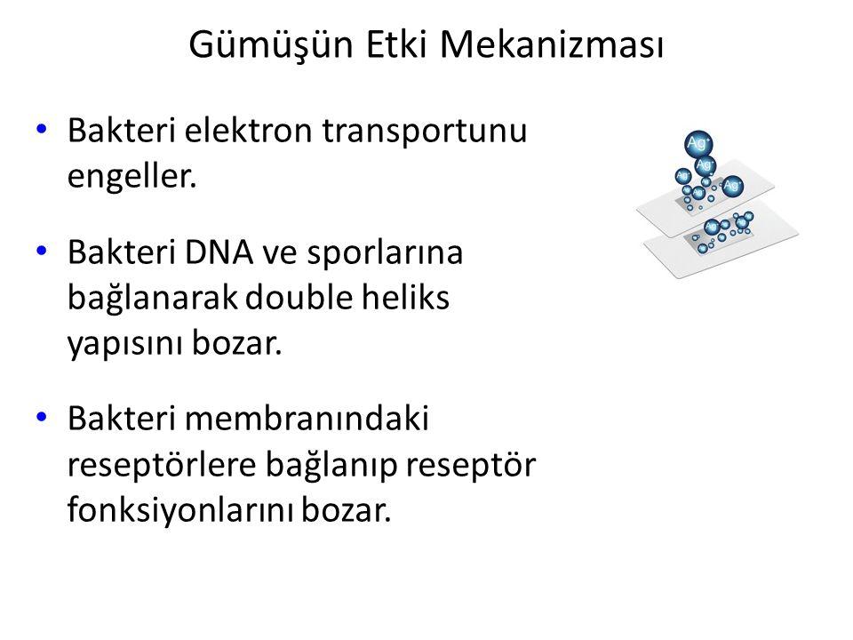 Gümüşün Etki Mekanizması Bakteri elektron transportunu engeller. Bakteri DNA ve sporlarına bağlanarak double heliks yapısını bozar. Bakteri membranınd