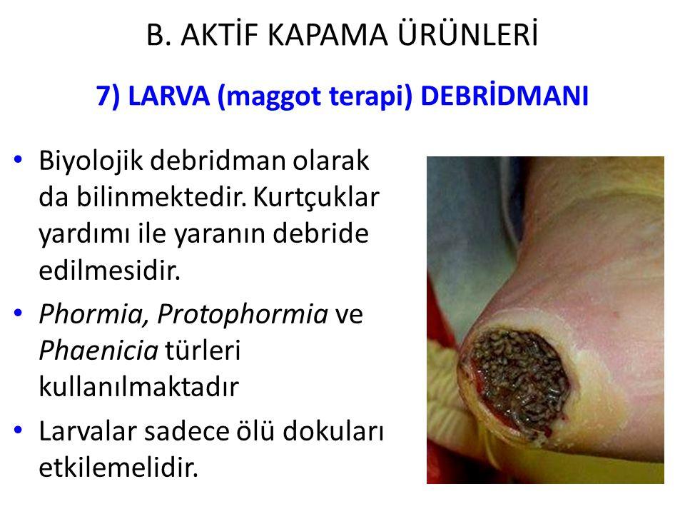 7) LARVA (maggot terapi) DEBRİDMANI Biyolojik debridman olarak da bilinmektedir. Kurtçuklar yardımı ile yaranın debride edilmesidir. Phormia, Protopho