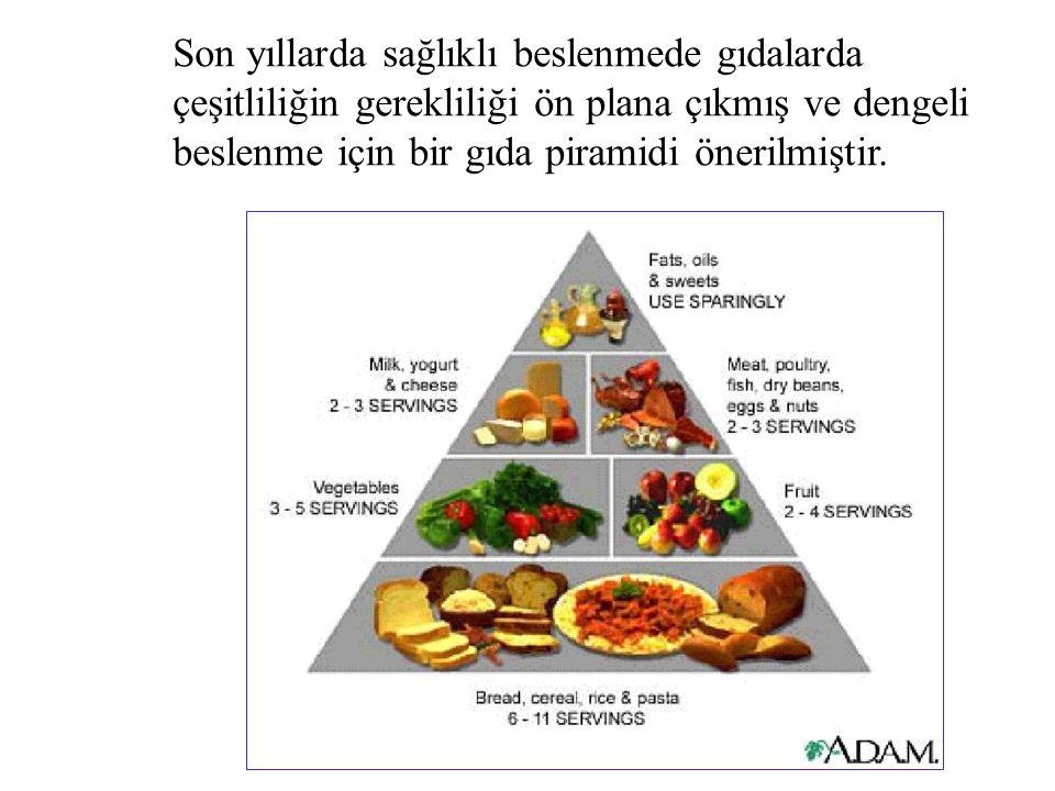 Son yıllarda sağlıklı beslenmede gıdalarda çeşitliliğin gerekliliği ön plana çıkmış ve dengeli beslenme için bir gıda piramidi önerilmiştir.