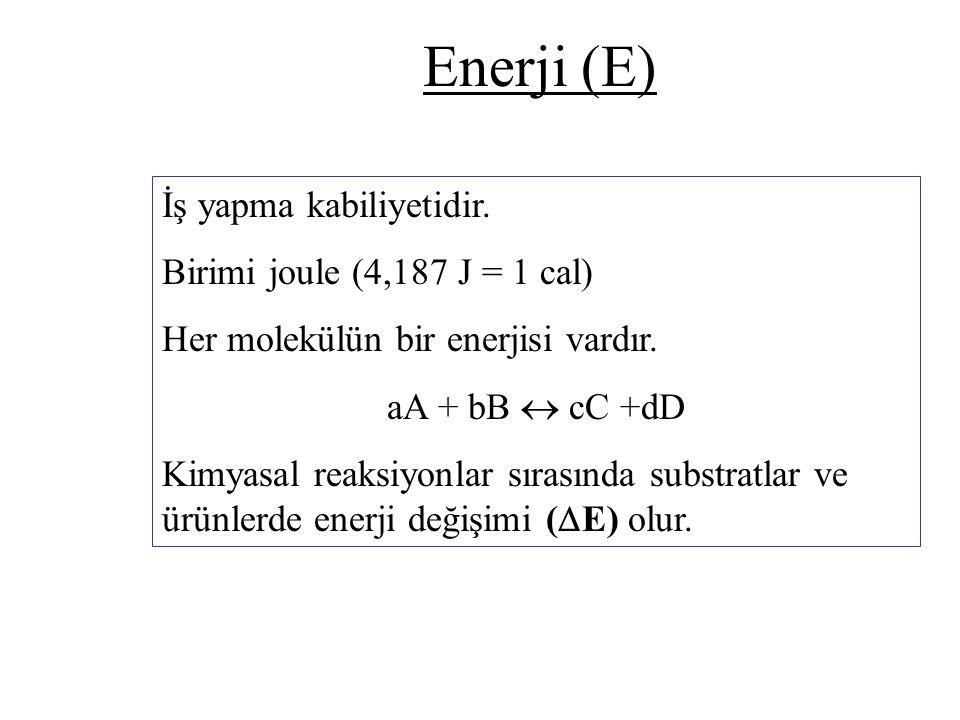Enerji (E) İş yapma kabiliyetidir. Birimi joule (4,187 J = 1 cal) Her molekülün bir enerjisi vardır. aA + bB  cC +dD Kimyasal reaksiyonlar sırasında