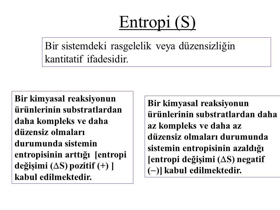 Entropi (S) Bir sistemdeki rasgelelik veya düzensizliğin kantitatif ifadesidir. Bir kimyasal reaksiyonun ürünlerinin substratlardan daha kompleks ve d