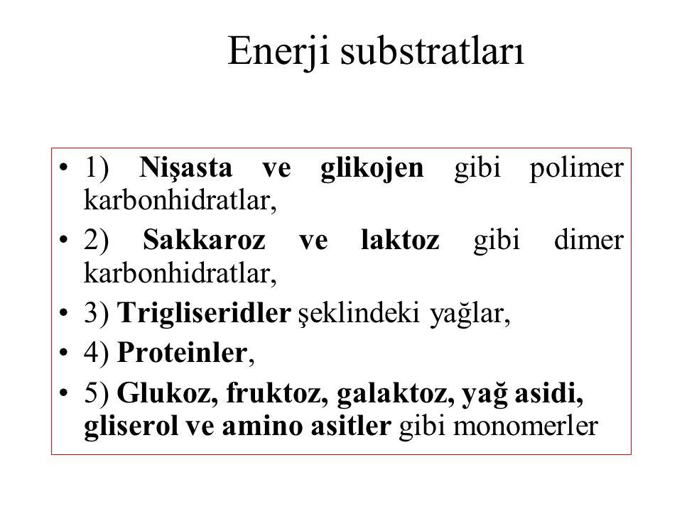 Enerji substratları 1) Nişasta ve glikojen gibi polimer karbonhidratlar, 2) Sakkaroz ve laktoz gibi dimer karbonhidratlar, 3) Trigliseridler şeklindek