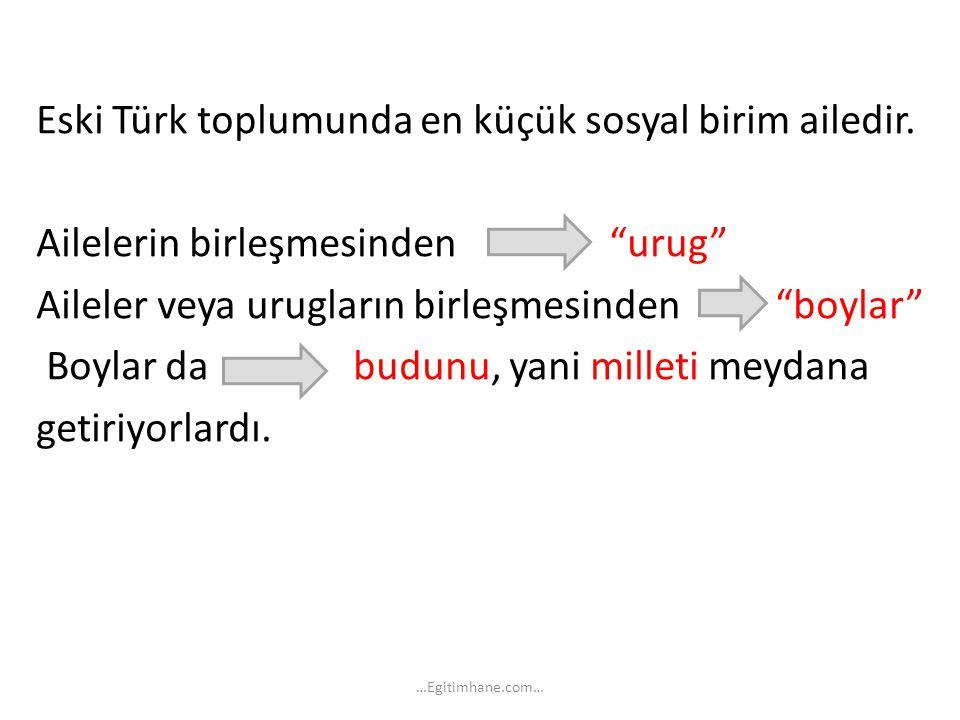 """Eski Türk toplumunda en küçük sosyal birim ailedir. Ailelerin birleşmesinden """"urug"""" Aileler veya urugların birleşmesinden """"boylar"""" Boylar da budunu, y"""